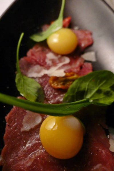 Angus Beef Carpaccio with quail egg