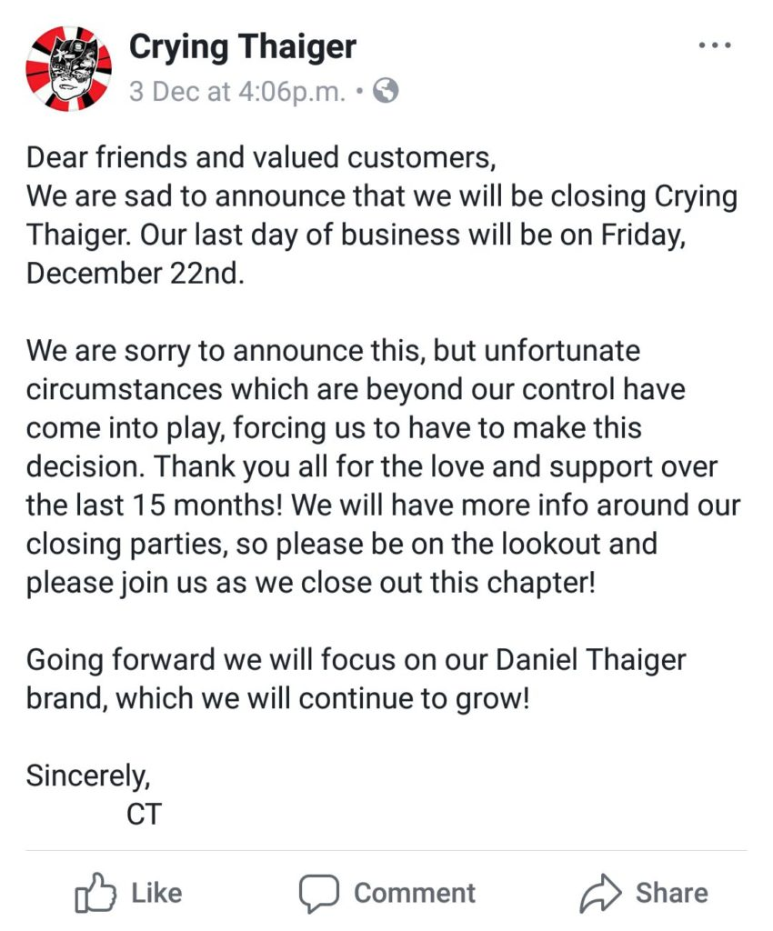 Crying Thaiger Facebook shutdown notice